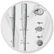 Baseball Bat Patent 1939 Round Beach Towel