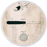 Baseball Bat - Patent Drawing For The 1902 John Hillerich Basebal Bat Round Beach Towel