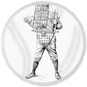 Baseball Catcher Cage - Restored Patent Drawing For The 1904 James Edward Bennett Catcher Cage Round Beach Towel