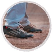 Baseball Cleats In The Dirt Round Beach Towel by Kelly Hazel