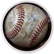 Baseball Close Up Round Beach Towel