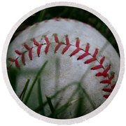 Baseball Round Beach Towel by Diane Reed