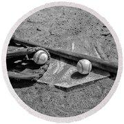 Baseball Game In Black And White Round Beach Towel