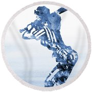 Baseball Girl-blue Round Beach Towel