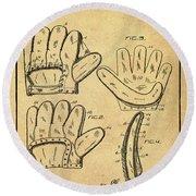 Baseball Glove Patent 1910 Sepia With Border Round Beach Towel