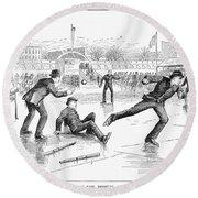 Baseball On Ice, 1884 Round Beach Towel