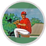 Baseball Pitcher Round Beach Towel by Marilyn Holkham