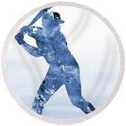 Baseball Player-blue Round Beach Towel
