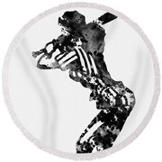 Baseball Player Round Beach Towel