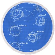 Baseball Training Device Patent 1961 Blueprint Round Beach Towel