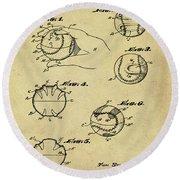 Baseball Training Device Patent 1961 Sepia Round Beach Towel