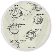 Baseball Training Device Patent 1961 Weathered Round Beach Towel