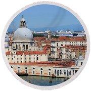 Basilica Della Salute And Punta Della Dogana In Venice Italy Round Beach Towel