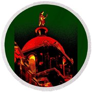 Basilica Of The Little Flower, Dome With Green Sky Round Beach Towel