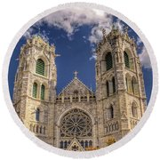 Basilica Of The Sacred Heart Newark New Jersey Round Beach Towel
