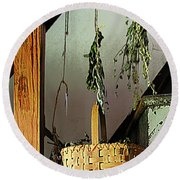 Basket And Drying Herbs Round Beach Towel
