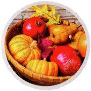 Basket Full Of Autumn Round Beach Towel
