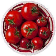 Basket Full Of Red Tomatoes  Round Beach Towel