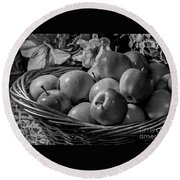 Basket Of Apples Bw Round Beach Towel