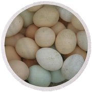 Basket Of Eggs  Round Beach Towel