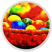 Basket Of Eggs - Pa Round Beach Towel