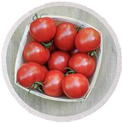 Basket Of Fresh Red Tomatoes Round Beach Towel