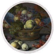 Basket Of Fruits Round Beach Towel
