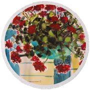 Basket Of Geraniums Round Beach Towel