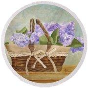 Basket Of Lilacs Round Beach Towel