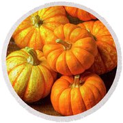 Basket Of Pumpkins Round Beach Towel
