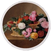 Basket Of Roses Round Beach Towel