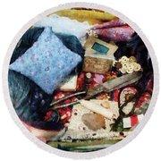 Basket Of Sewing Supplies Round Beach Towel