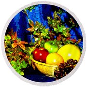 Basket With Fruit Round Beach Towel