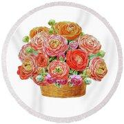 Basket With Ranunculus Flowers Watercolor Round Beach Towel