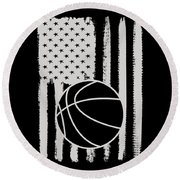Basketball American Flag Usa Apparel Round Beach Towel