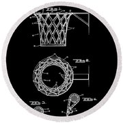 Basketball Net Patent 1951 In Black Round Beach Towel