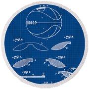 Basketball Patent 1916 Blue Print Round Beach Towel