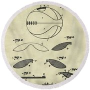 Basketball Patent 1916 Faded Grunge Round Beach Towel