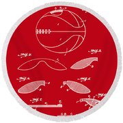 Basketball Patent 1916 Red Round Beach Towel