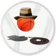 Basketball With Fedora Round Beach Towel