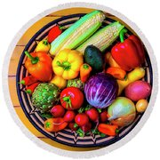 Basketful Of Fresh Vegetables Round Beach Towel