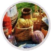 Baskets Of Yarn At Flea Market Round Beach Towel