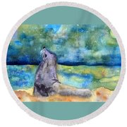 Basking In The Moonlight Round Beach Towel
