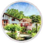 Basque Houses In Ainhoa 2- Vintage Version Round Beach Towel