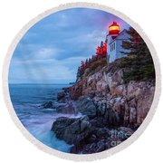 Bass Harbor Head Lighthouse Round Beach Towel