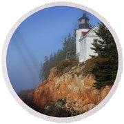 Bass Harbor Lighthouse, Acadia National Park Round Beach Towel