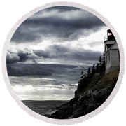 Bass Harbor Lighthouse In Acadia Np Round Beach Towel