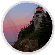 Bass Harbor Lighthouse Round Beach Towel
