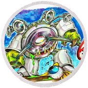 Bass Monster Round Beach Towel