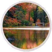 Pond In Autumn Round Beach Towel